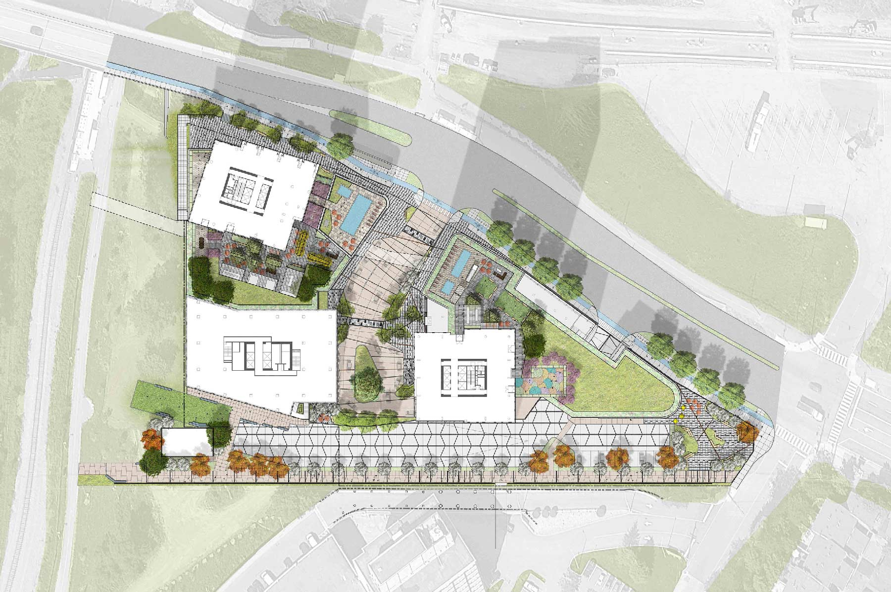 Proposed site plan of Trinity Station.