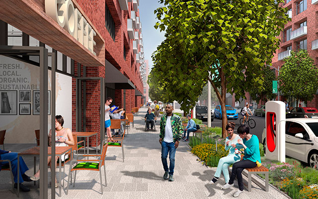 Proposed streetscape rendering of Spring Street within The Tannery District.