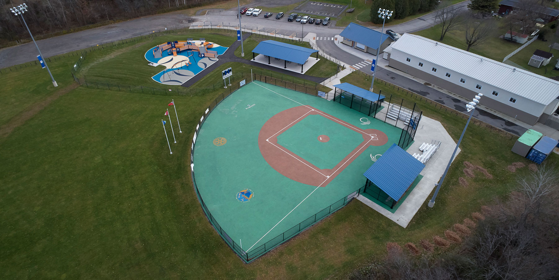 Aerial view of the Miracle League of Ottawa park and baseball diamond.