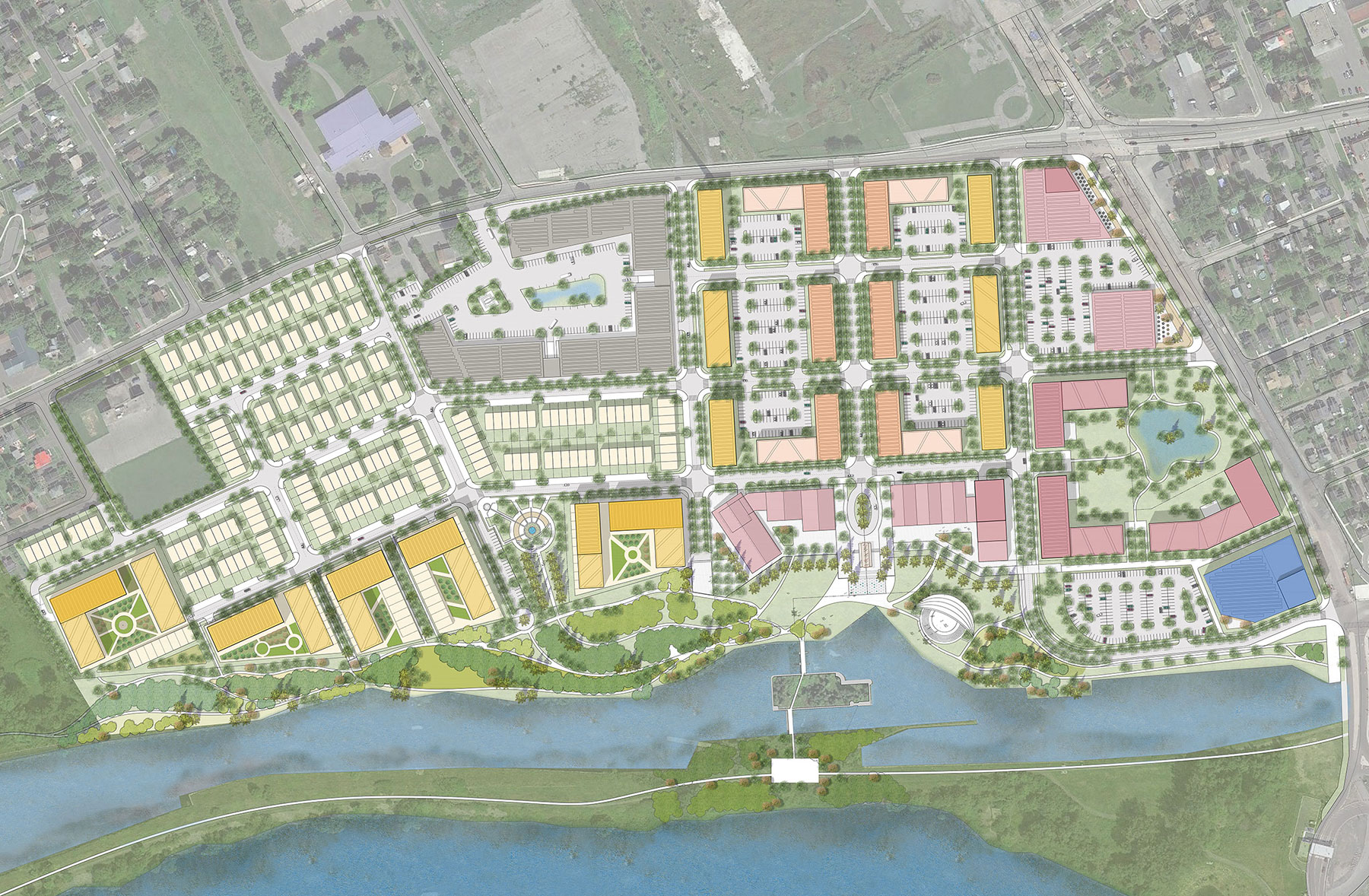 Proposed site plan of development along Cornwall Canal.